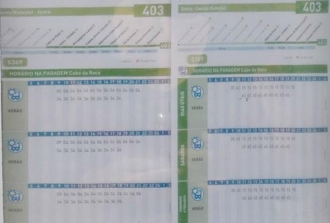 ロカ岬 403番バス時刻表