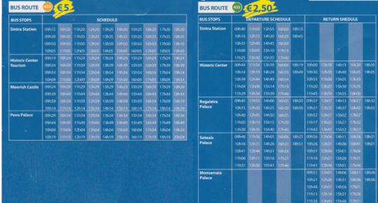 シントラ 434、435バス 時刻表