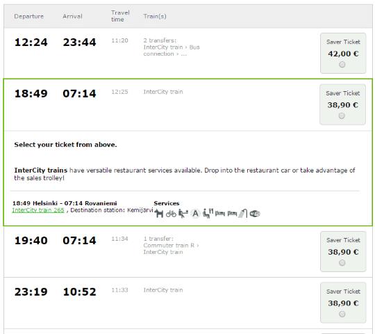 フィンランド 鉄道 予約 サンタクロース エクスプレス