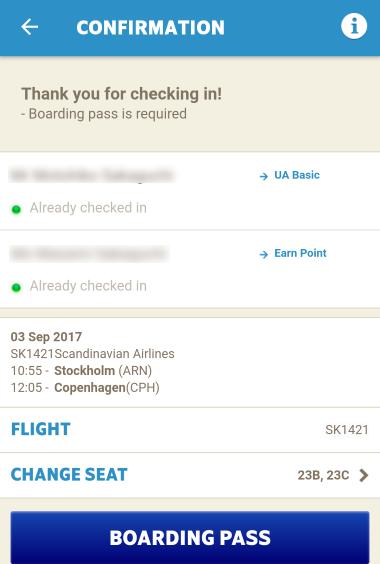 スカンジナビア航空 SAS チェックイン