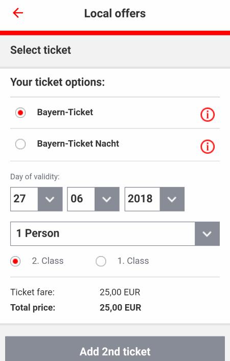 ドイツ鉄道DB チケット予約 オンライン アプリ バイエルン・チケット